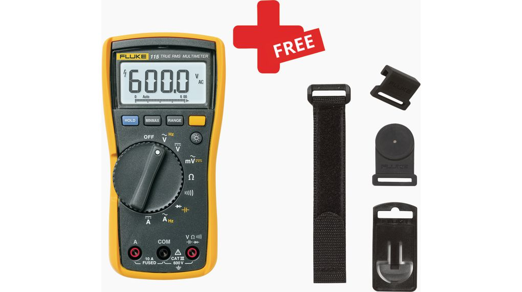 Buy Fluke 115 True-RMS Digital Multimeter + FREE TPAK Fastening Set 600V 6V 600V 600mV