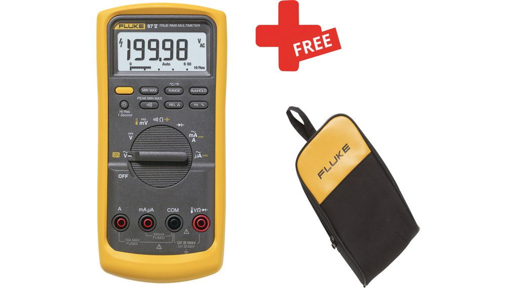 Fluke 87V True-RMS Digital Multimeter + FREE C25 Carrying Case 1kV 600mV  1kV 600mV