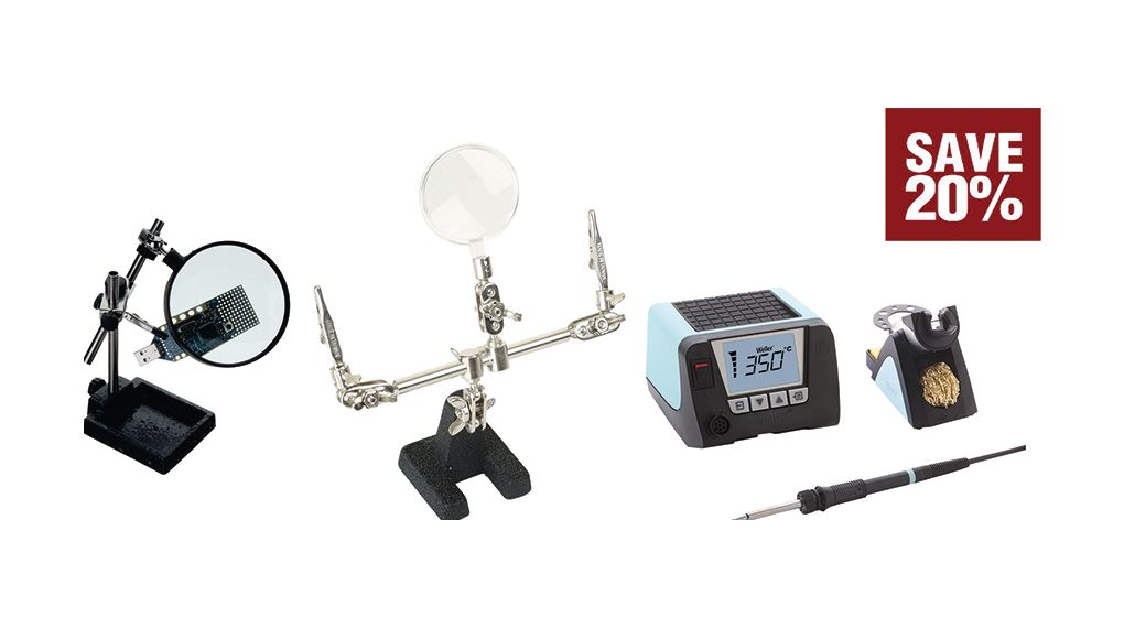 Buy Soldering Station + Holder + RND PCB Holder with Magnifier 95W 550°C 230V