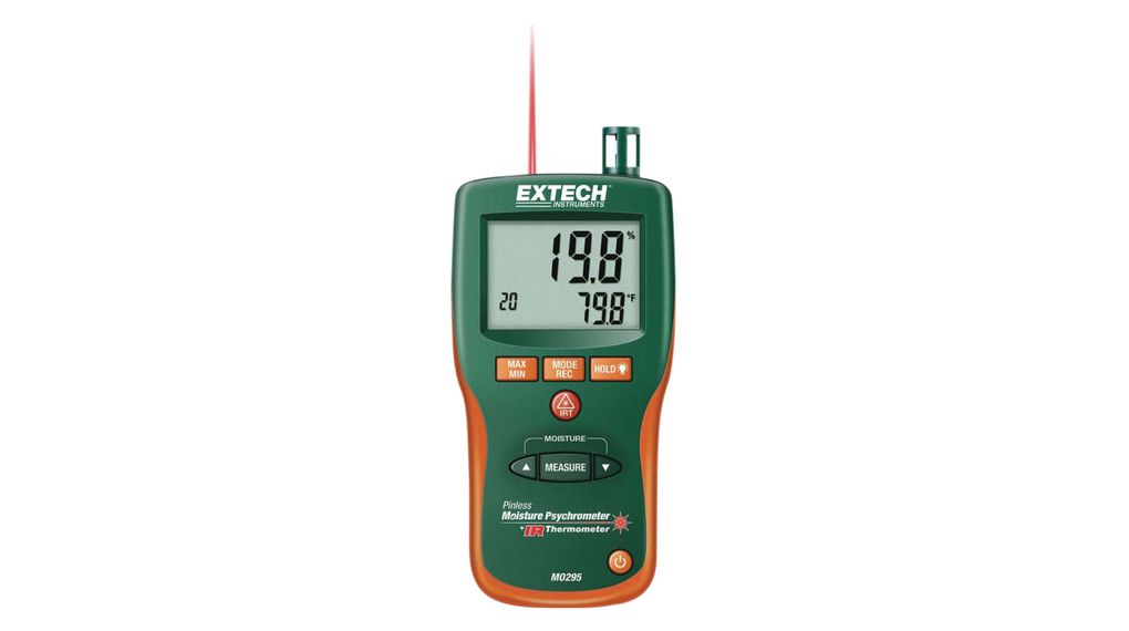 Pinless Moisture Meter with IR Thermometer, 0 99.9%, 20 200°C