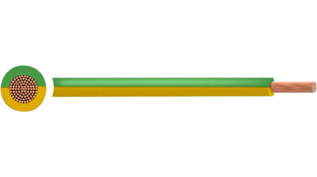 Tri-Rated Wire, 2.5 mm², Green / Yellow Copper Bare PVC