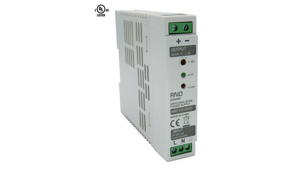 Buy AC/DC DIN Rail Mounted Power Supply Adjustable 12V / 1.2A 15W